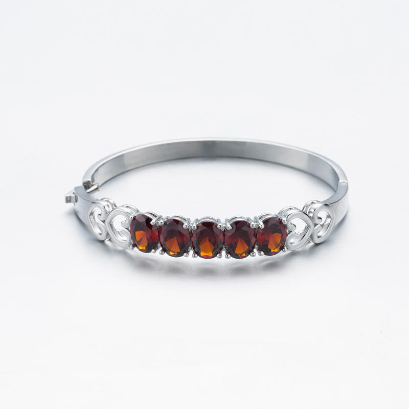 Romantic Love Shope Silver Ruby Bangle