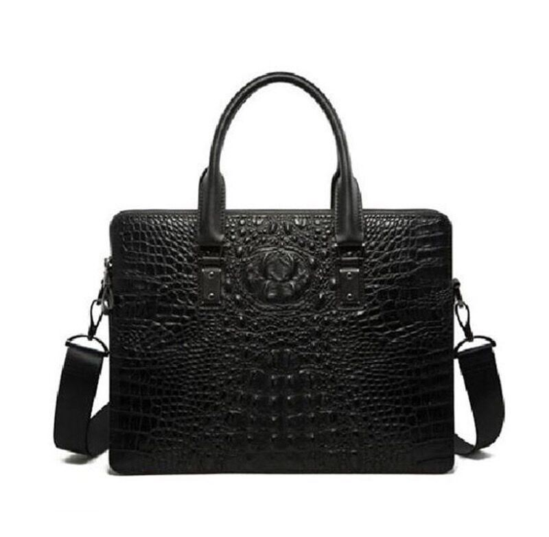 High Quality Crocodile Grain Men Fashion Genuine Leather Cross Body Handbags