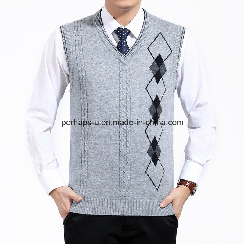 Autumn Men Knitted Wool Vest V-Neck Business Casual Sweater