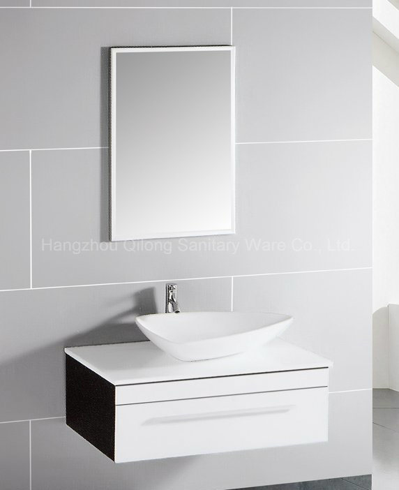 Hot Selling MDF Bathroom Vanity with Ceramic Basin and Mirror Cabinet