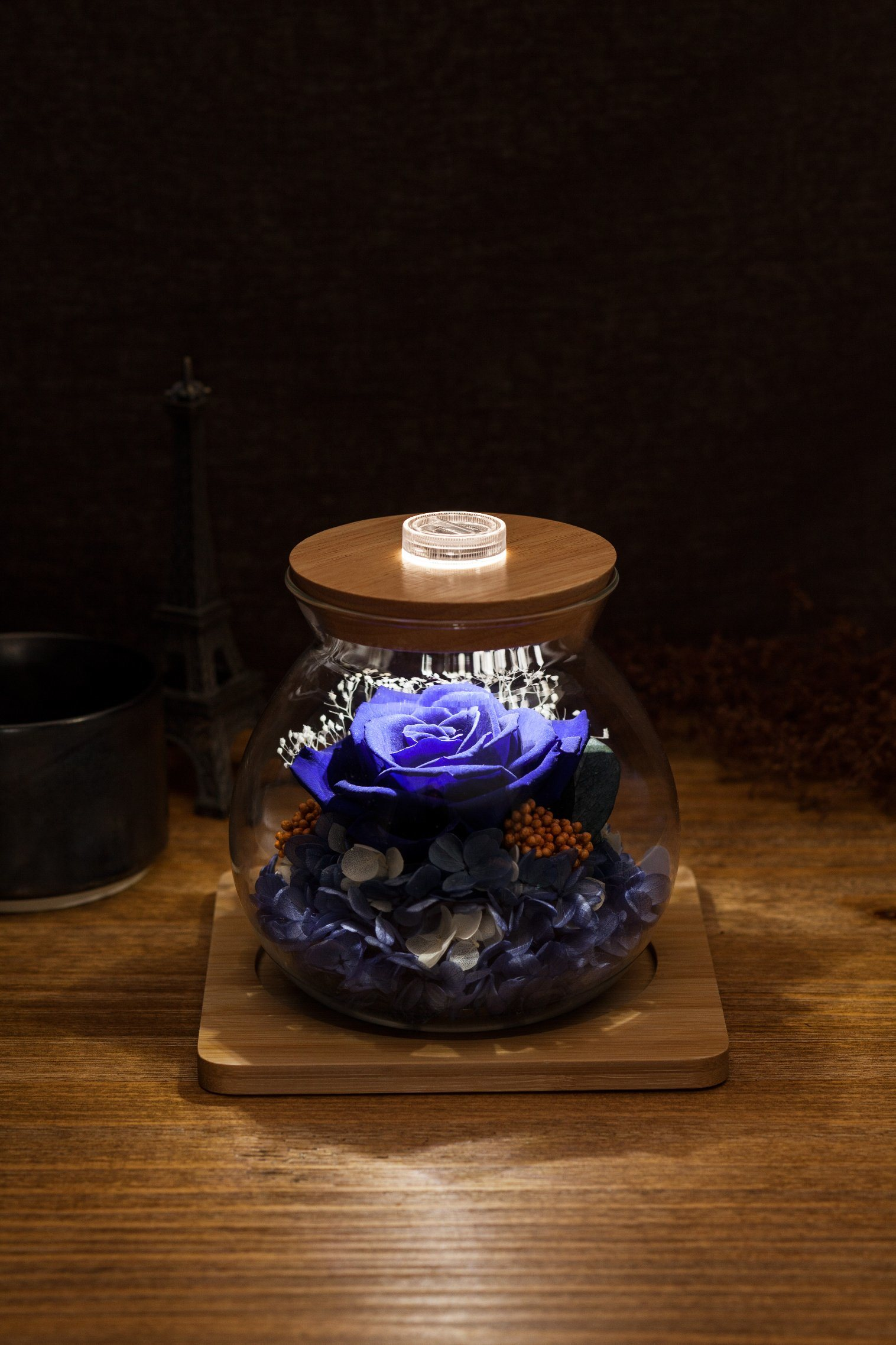 Ivenran Luminous Wish Bottle Fresh Flowers for Creative Birthday Valentine′s Day Gift