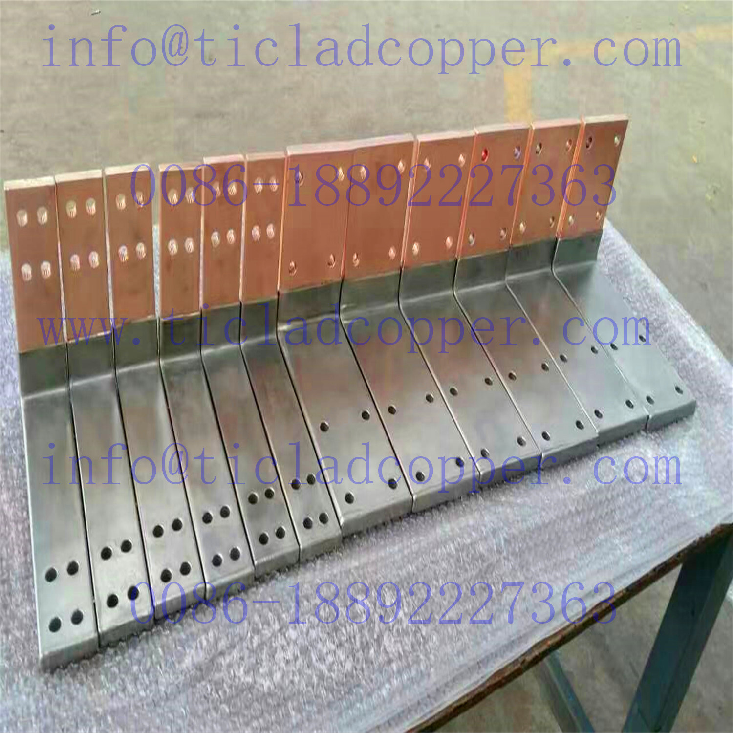 Precut Titanium Clad Copper Anode Hanger Bar Connector