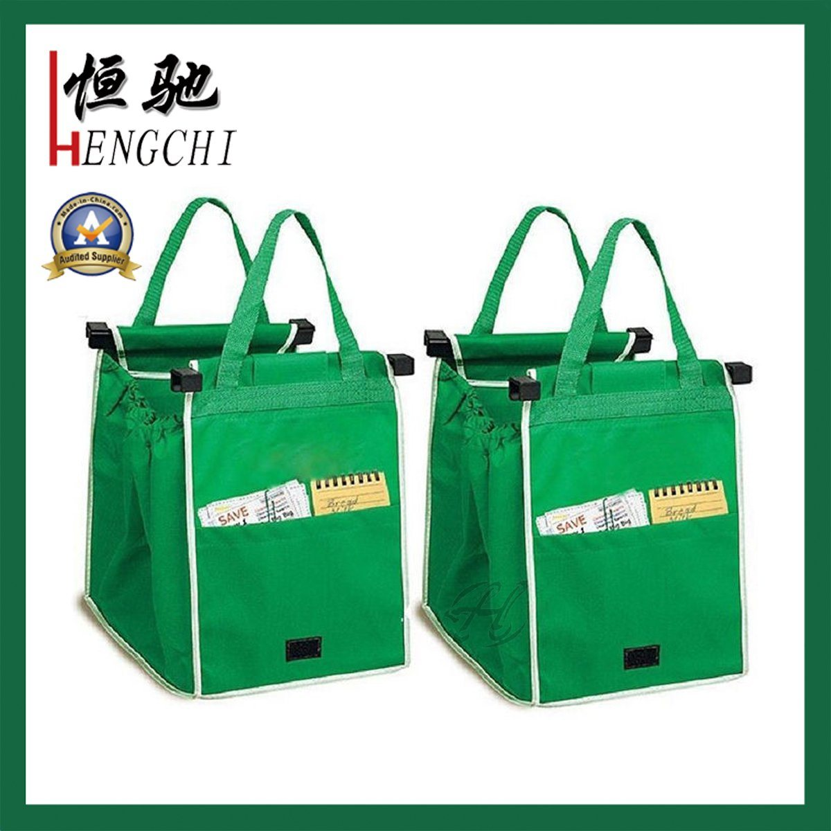 Promotional Easy Carry Foldable Shopping Bag Clip on Trolley