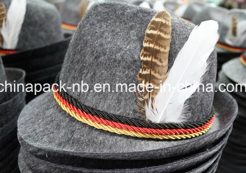 Grey Felt Alpine Oktoberfest German Bavarian Costume Hat with Feather