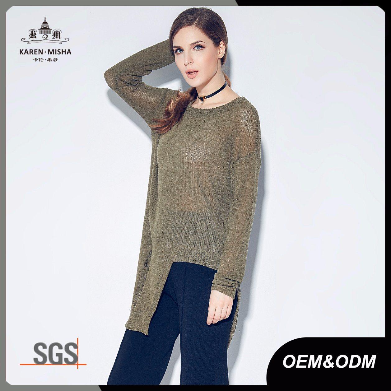 Longline Assymmetric Distressed Lader Womens Knitted Jumper
