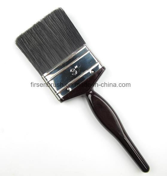 Kaiser Style Natural Black Bristle Paint Brush with Lacquered White Wooden Handle with Red Tip