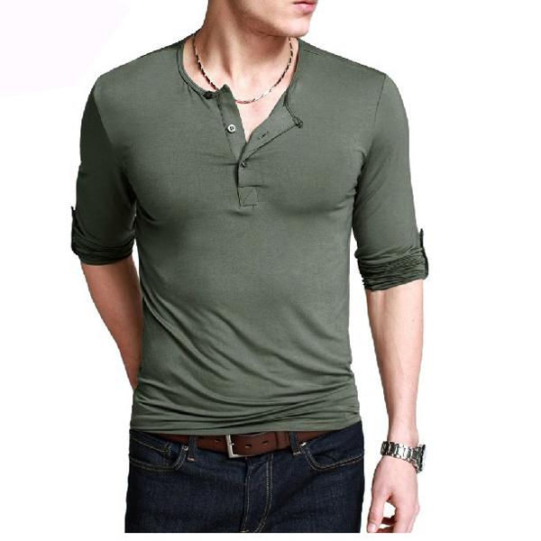 China plain blank long sleeve men 39 s button collar t shirt for Button collar t shirt