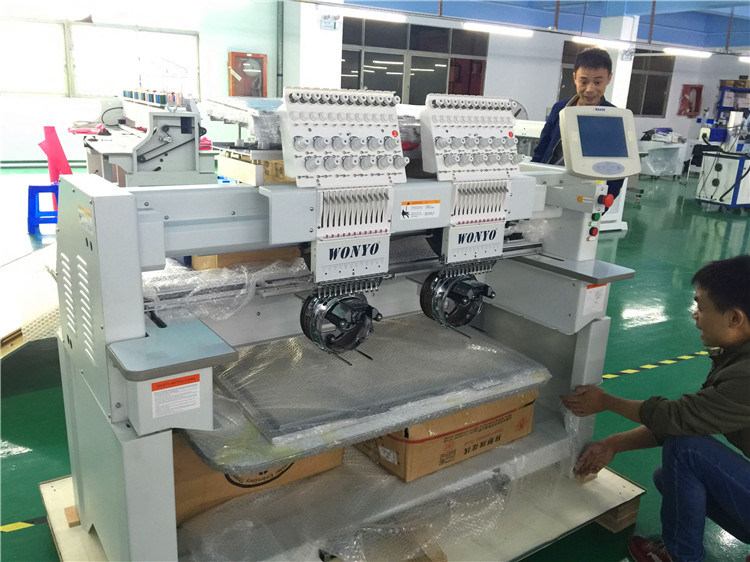 High Speed 2 Head Tubular Computerized Embroidery Machine for Cap and T-Shirt 9/12/15 Colors