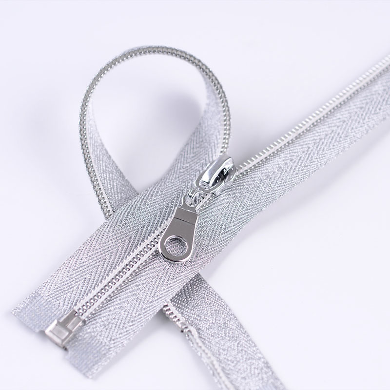 No. 5 Nylon Sliver Zipper Open End Auto Lock
