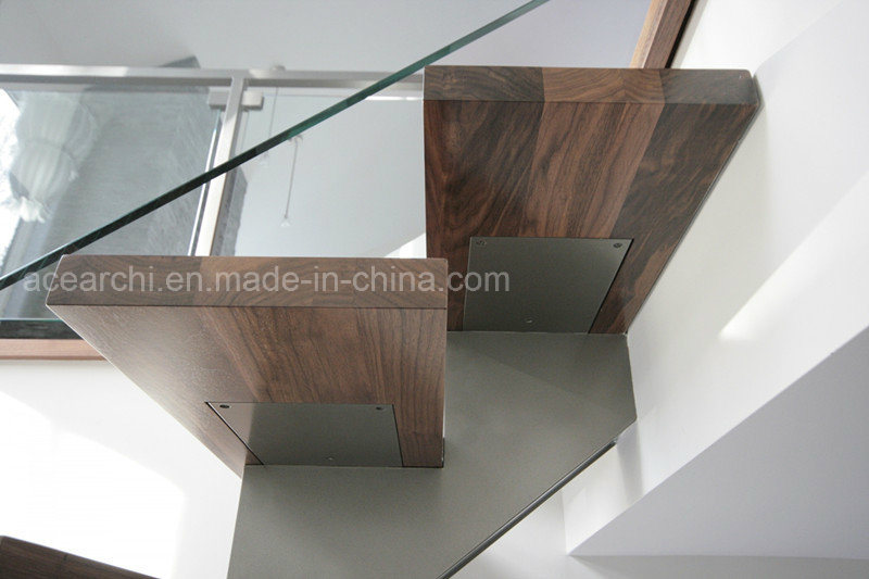 Modern Design Steel Beam Stringer Open Staircase Indoor with Solid Wood Stairs Tread