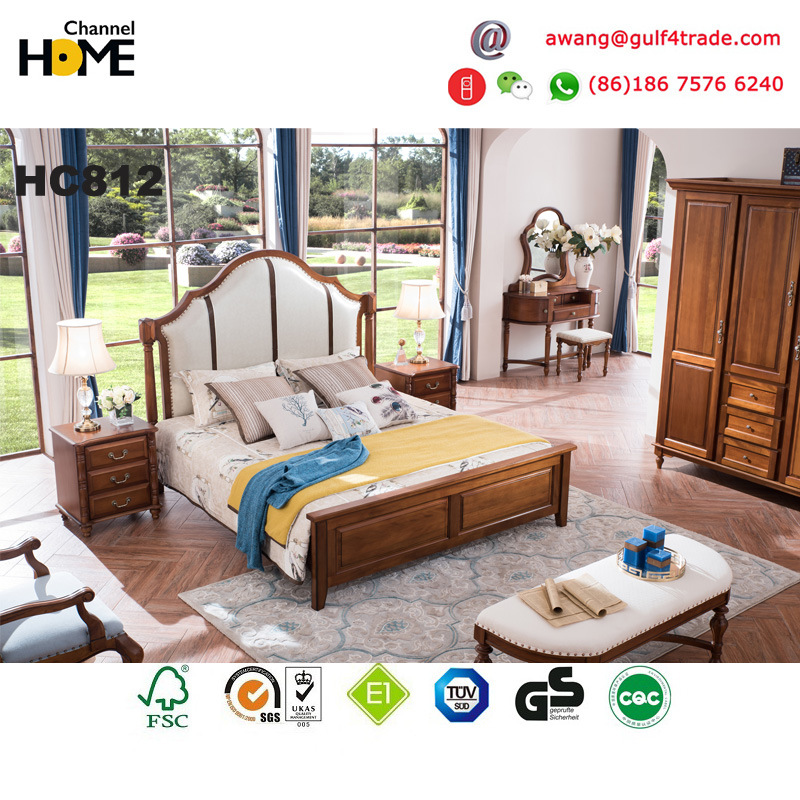 Luxury Antique Oak Wooden Bed Furniture for Bedroom (AD812)