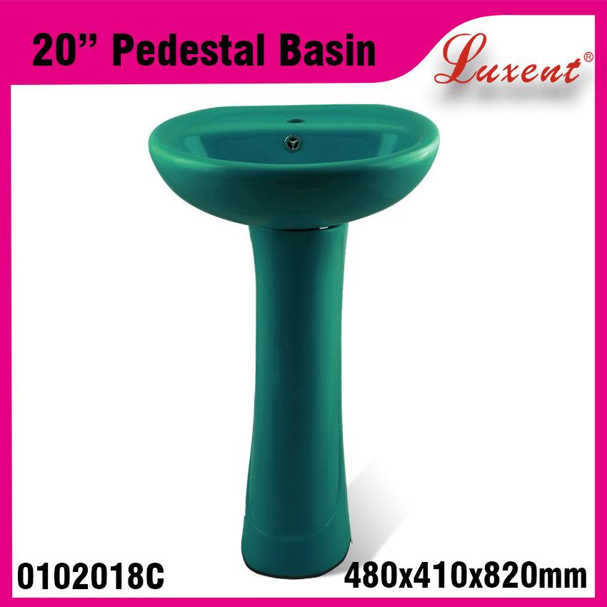 Low Price Ceramic Dinner Room Solid Surface Hand Wash Pedestal Basin