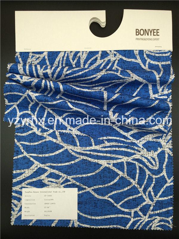 Finished Fabric 100% Cotton Poplin Blue Ground