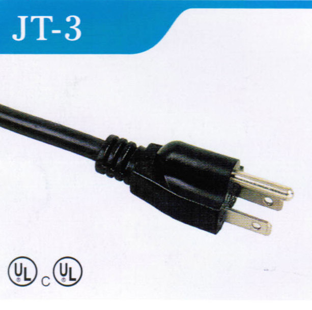 UL American 3 Pin AC Power Cord with 3 Plug (JT-3)