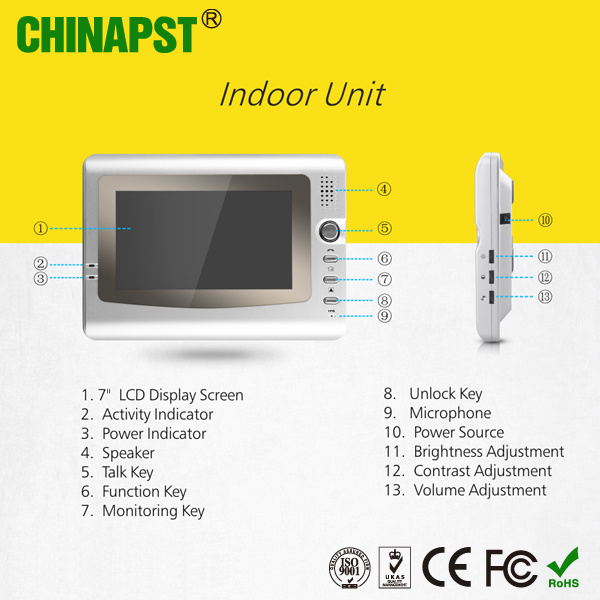 Apartment 7 Inch Screen Video Intercom Door Entry System (PST-VD906C)