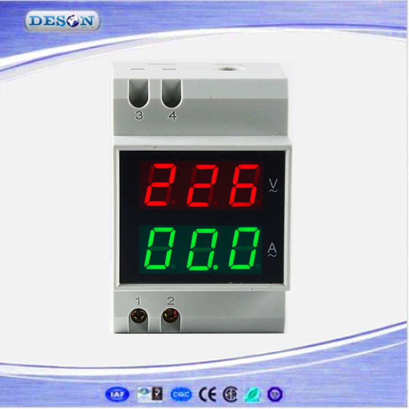 DIN Rail AC Current and Voltage Meter Digital Ammeter Voltmeter
