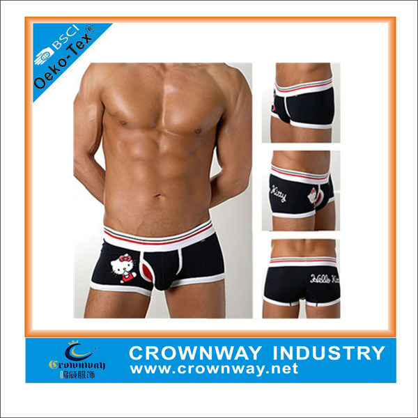Wholesale Men′s Cute Print Cotton Boxer Shorts with Custom Logo