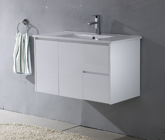 MDF UV Gloss Paintting White Wall Bathroom Cabinet