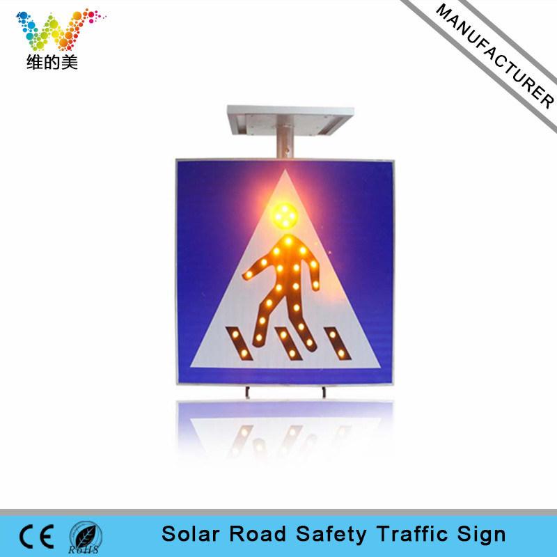 Aluminum Road Safety Pedestrian Solar LED Traffic Sign