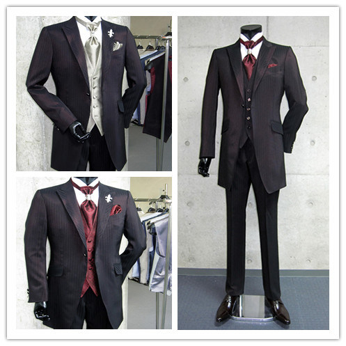 Groom Striped Wedding Evening Business and Men Party Suit