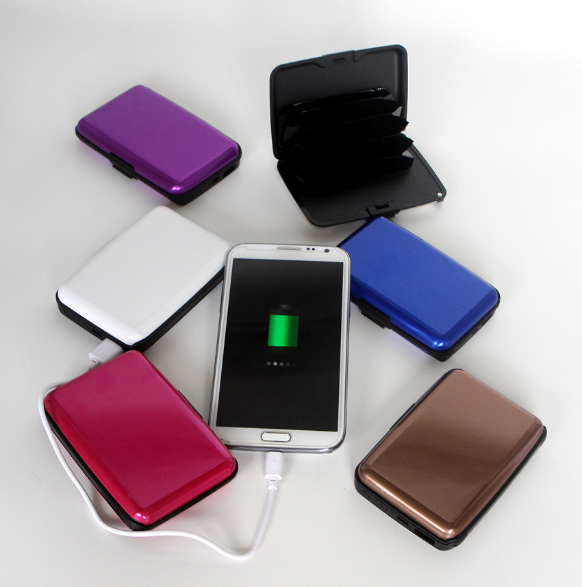 2 in 1 RFID Power Bank Aluminum Wallet with USB Interface
