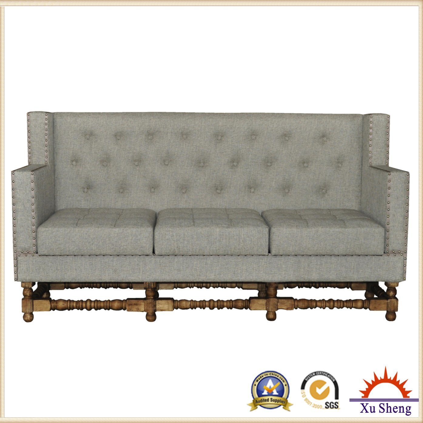 Living Room Furniture Tuft Linen Fabric Upholstered Sectional Sofa Seat
