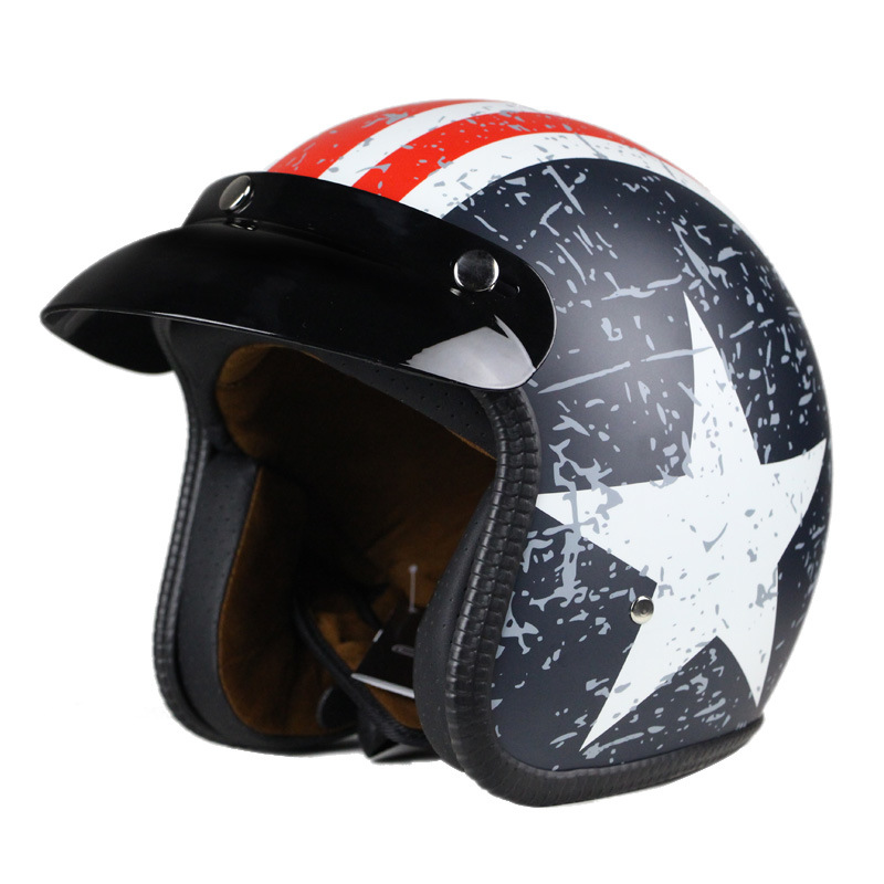 Open Face Safety Helmet for Motorcycle with DOT Certificates in Chrome