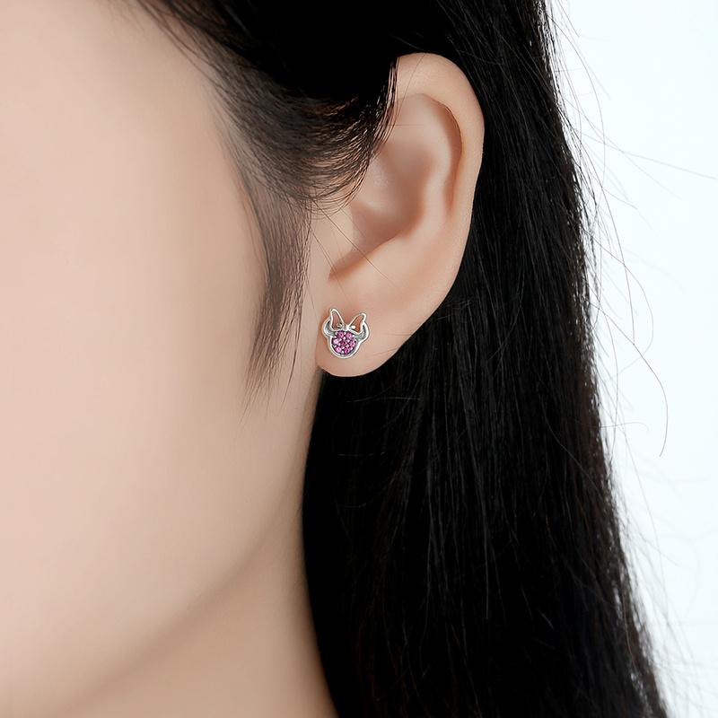 Elegant Shinney Silver Jewelry Minnie Stud Earring