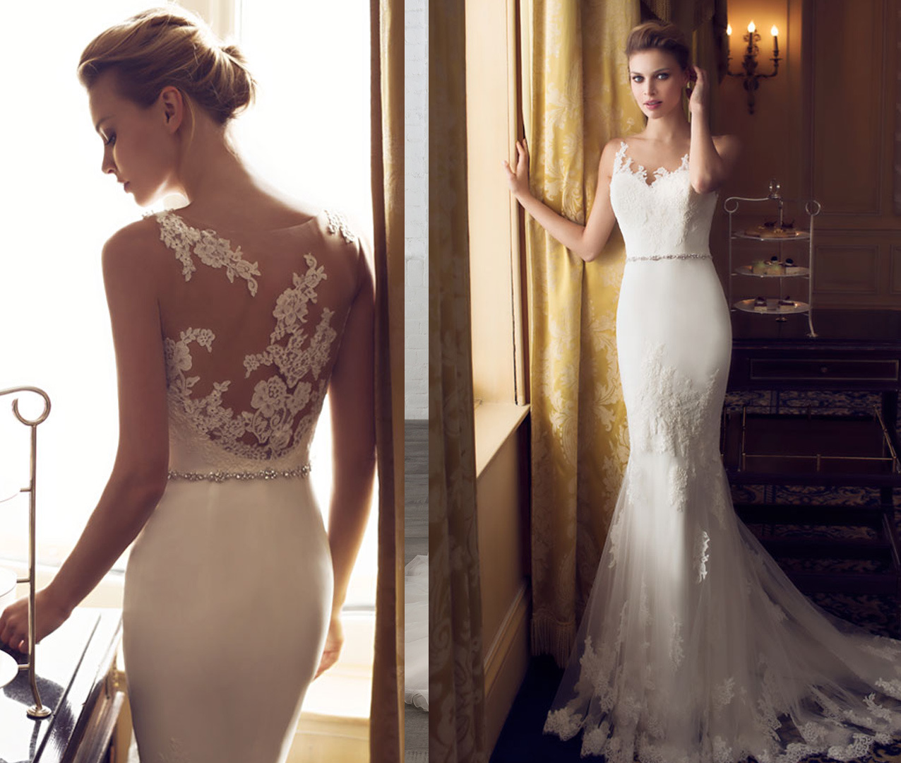 Fit and Flare Illusion Back Bridal Wedding Dress