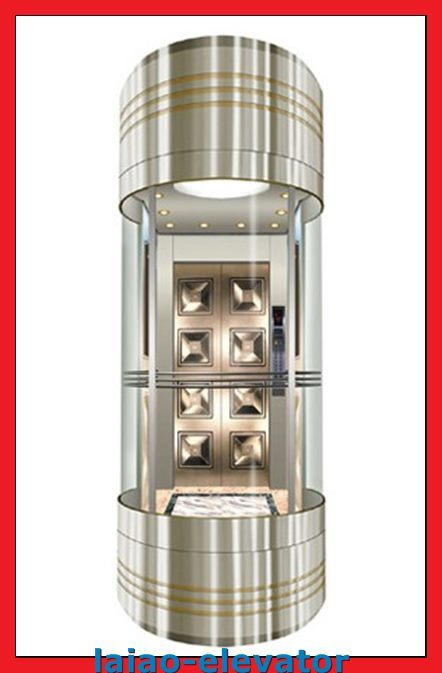 Glass with Stainless Steel Frame Sightseeing Observation Elevator