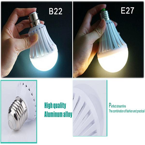 Hot 2017 Built-in Rechargeable Battery 5W 7W E27 B22 Intelligent LED Bulb Light LED Emergency Bulb