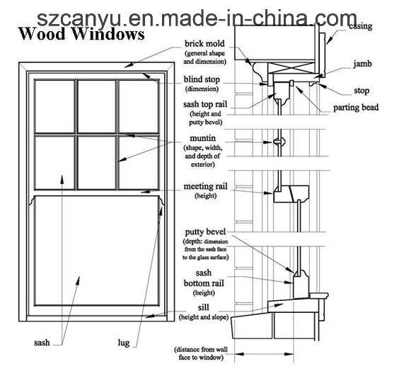 Customized Wood Color Double Glass Aluminum Casement Window