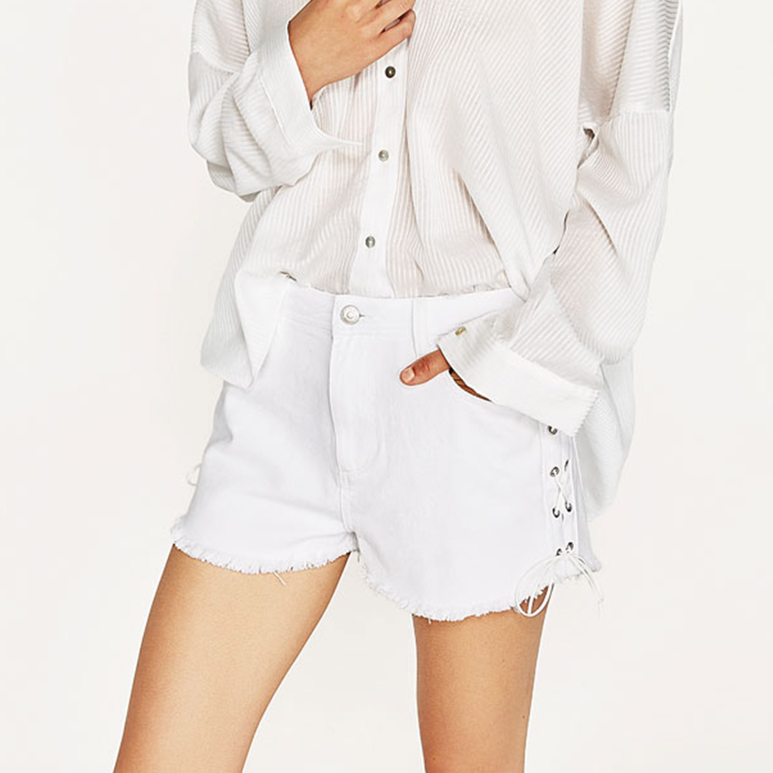Ladies Fashion Side Bandage Preppy Style Short Pants