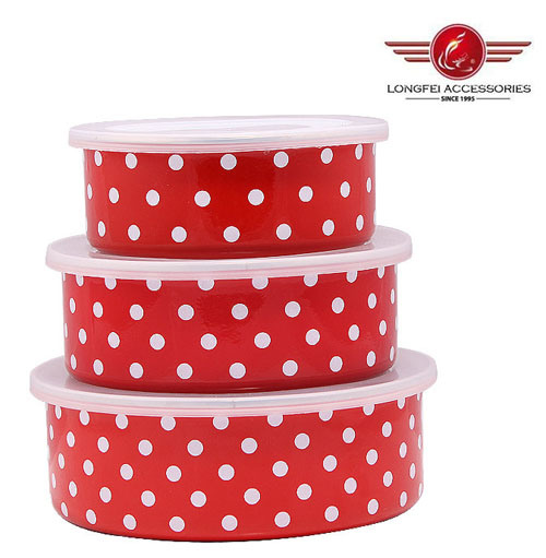 3PCS High Quality Enamel Food Storage Set with PP Lid