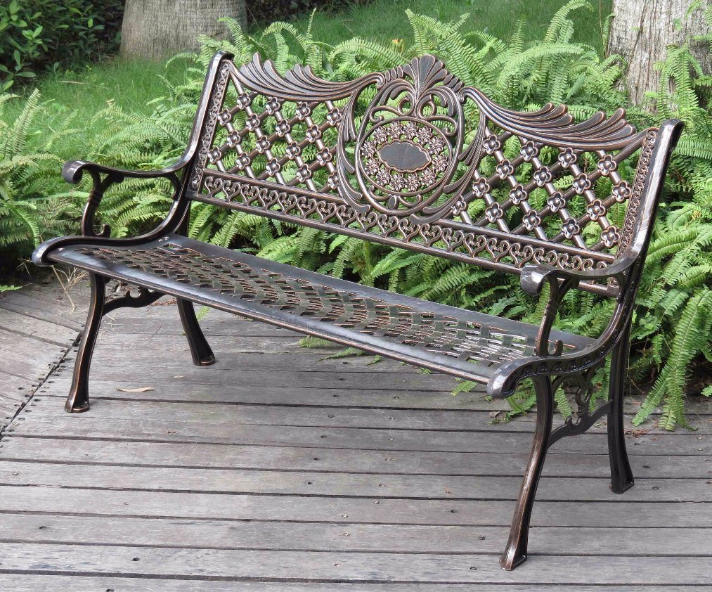 Traditonal Patio Rustproof Aluminum Outdoor Park Waiting Bench 46inch*23inch, Antique Copper Finish