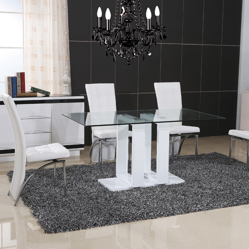 High Glossy Paiting Glass Dining Table with PU Chair (ET61 & EC54)