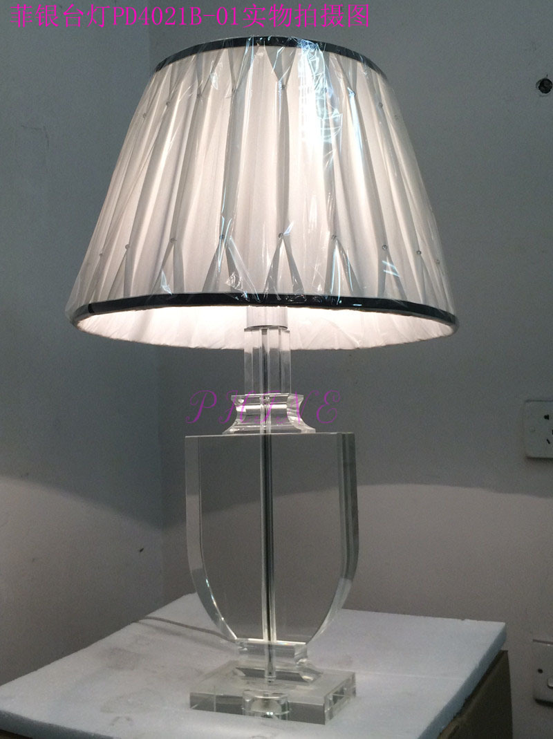 Phine Pd0421-01 Crystal Modern Desk Lamp with Fabric Shade