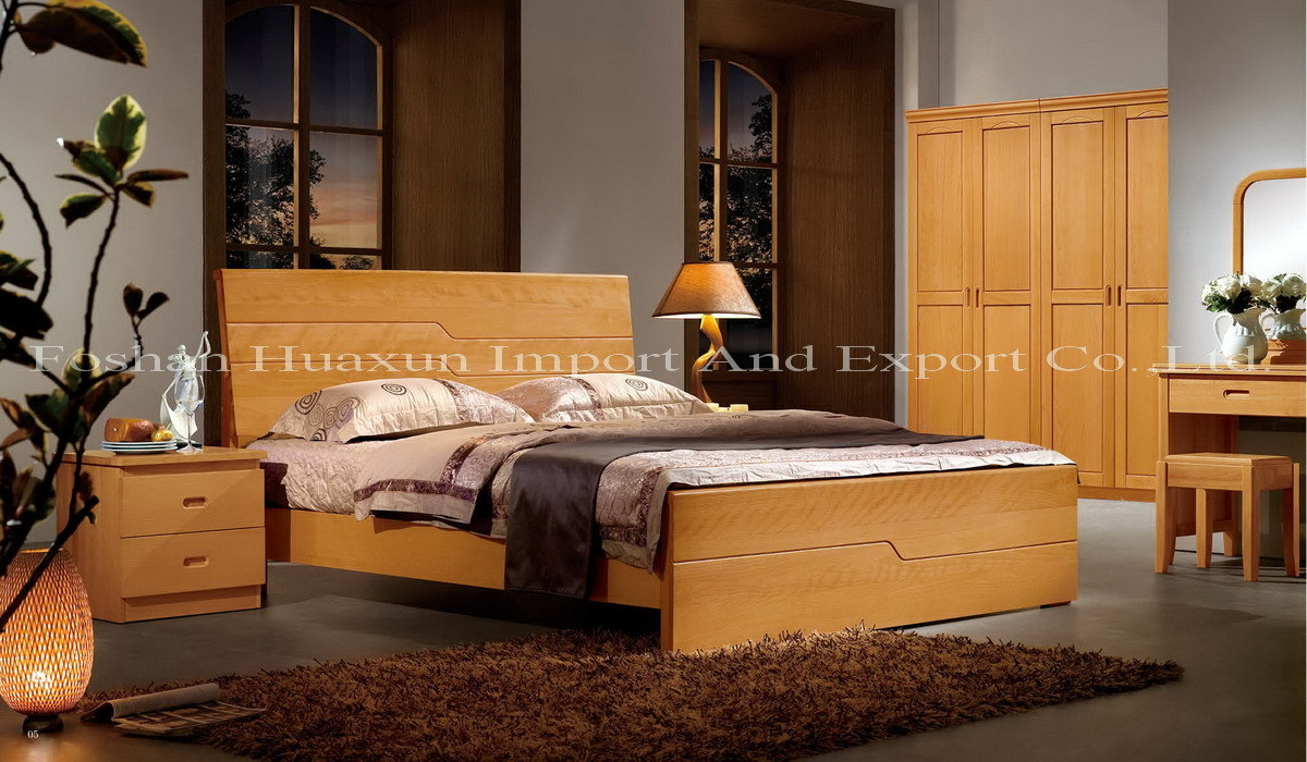 Bedroom furniture bed b001 china wooden bed solid for Beech bedroom furniture