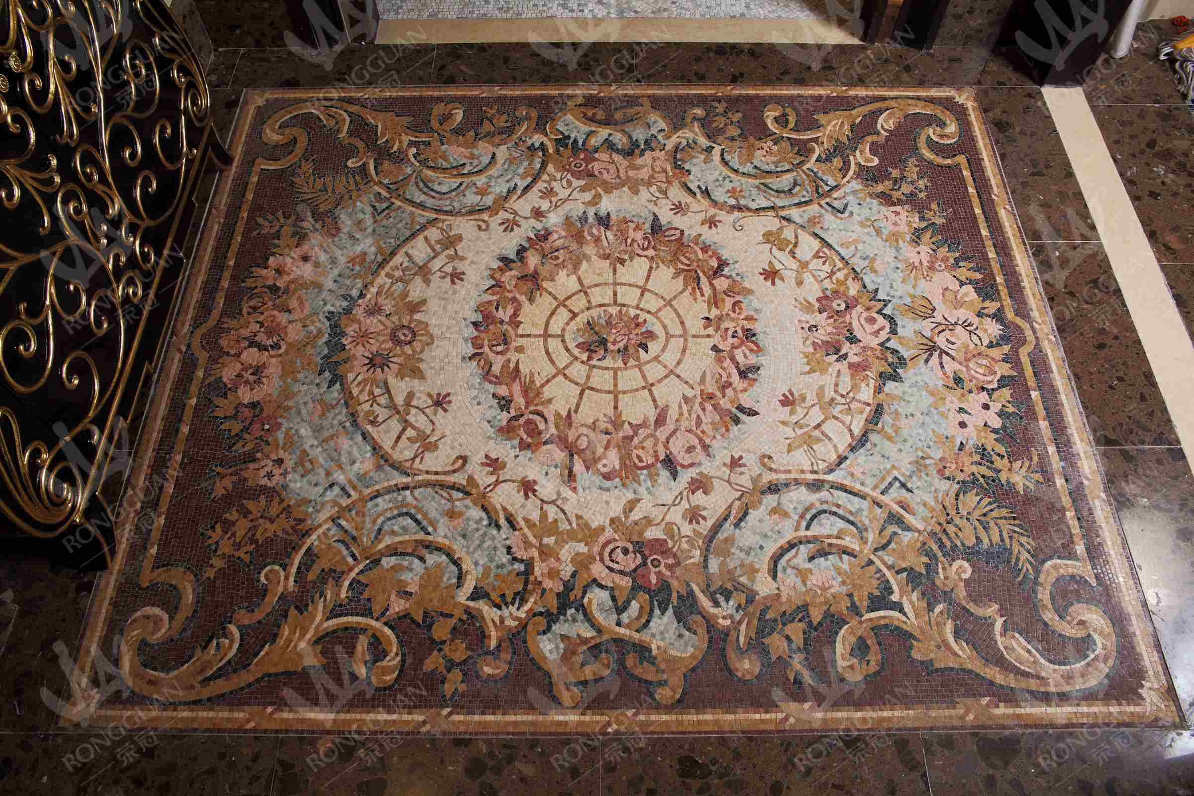 China Marble Mosaic Art Design For Floor Carpet Photos