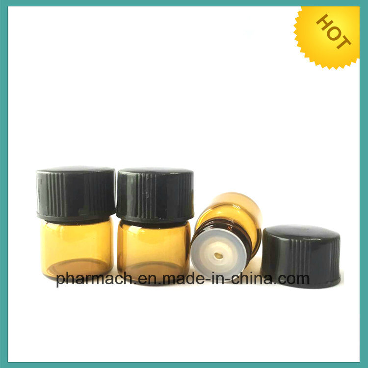 (1ml) 1/4 DRAM Amber Glass Vials with Orifice Reducer & Black Caps