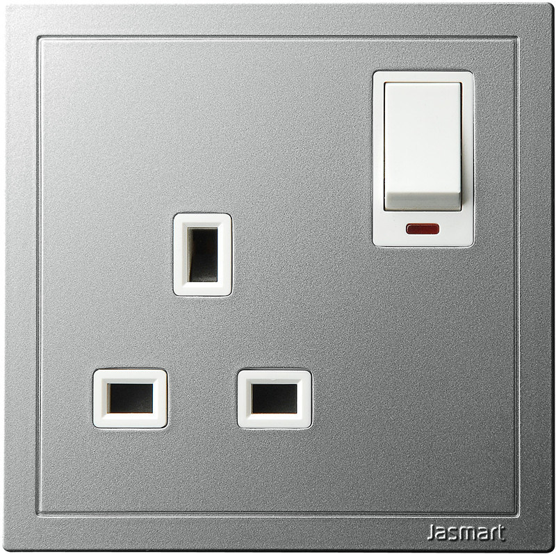 13A 1 Gang Switched Socket with Neon