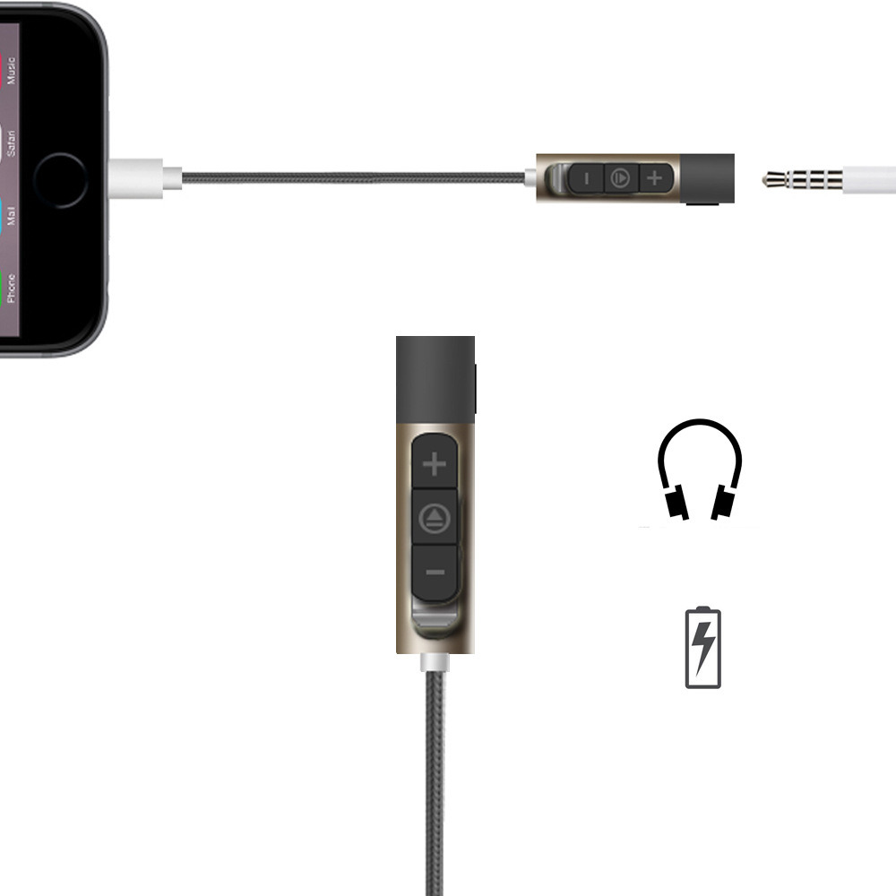 8 Pin Lightning to 3.5mm Adapter with Volume Control for iPhone 7