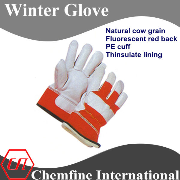Natural Cow Grain, Fluorescent Red Back, PE Cuff, Thinsulate Lining Leather Winter Glove