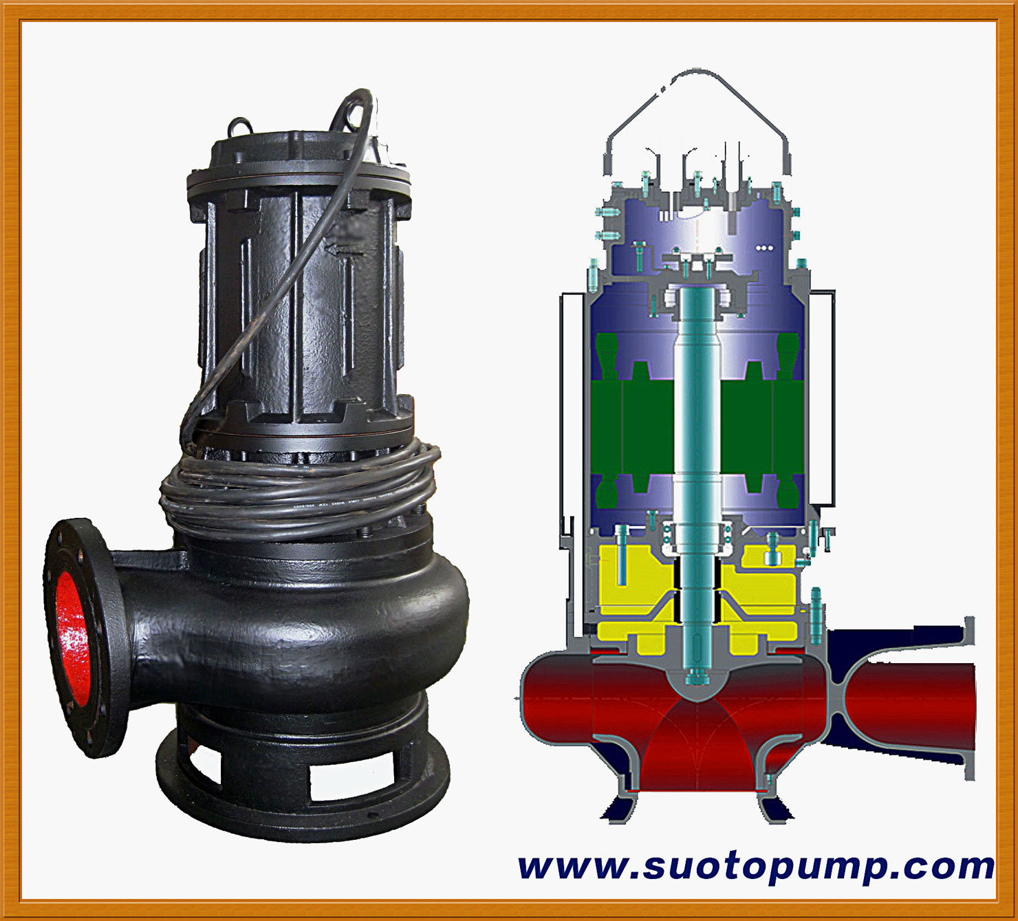 Non-Clog Waste Water Centrifugal Submersible Sewage Pump (WQ)