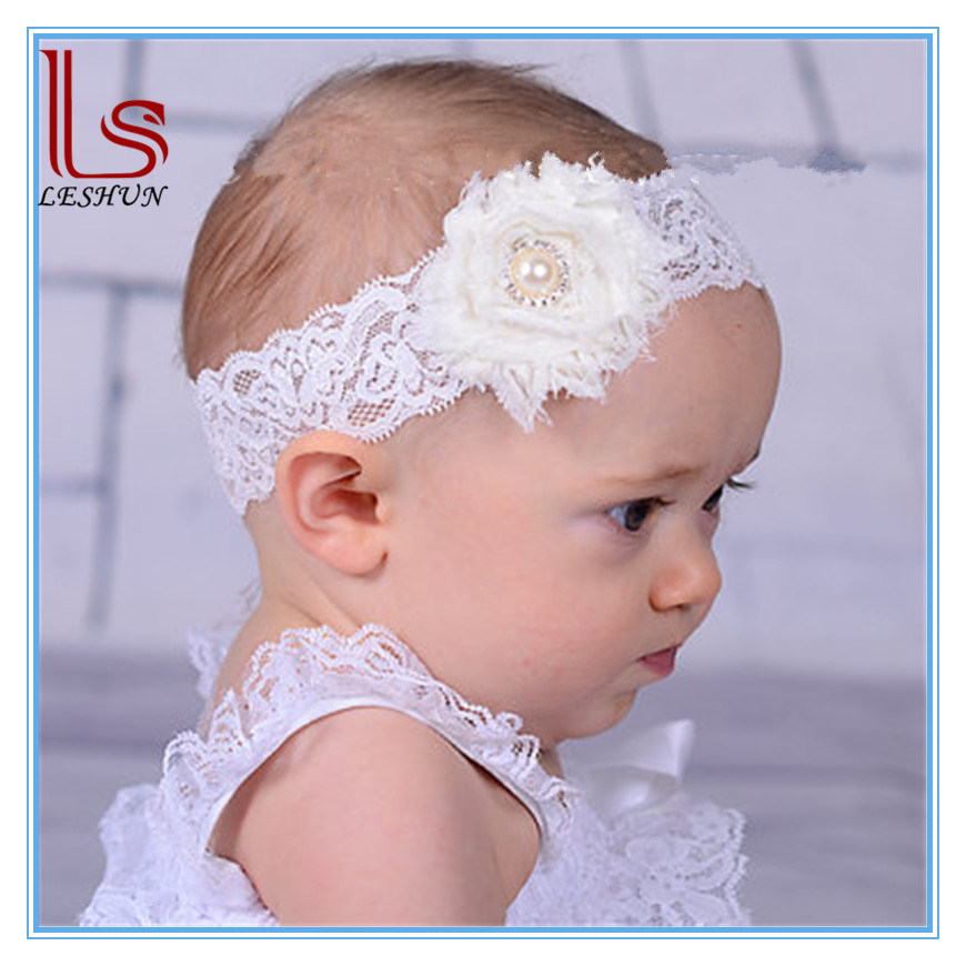 Hot Sale Elastic Lace Baby Headband with Flower