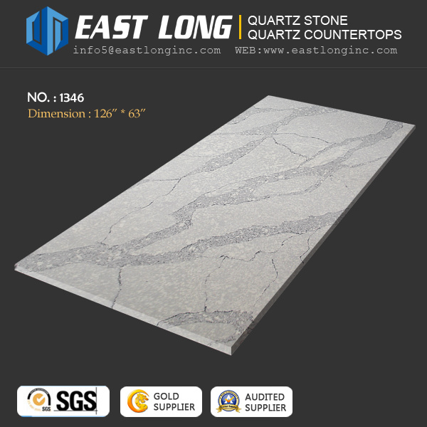 Artificial Calacatta Quartz Stone for Slab/ Countertop/Building Material Whih Solid Surface