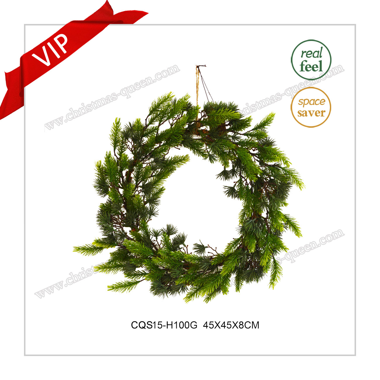 22 Inch Handmade Plastic Artificial Wreath Christmas Decoration