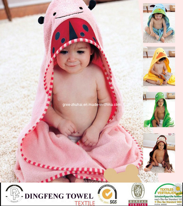 100% Cotton Children Hooded Towel Baby Cape Df-9282