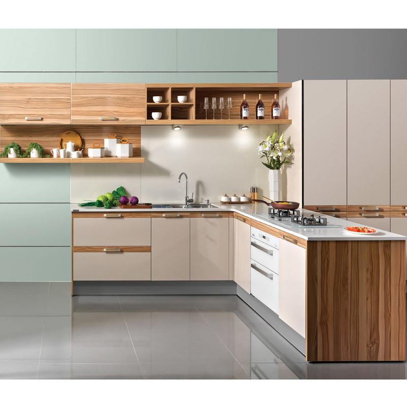 Kenya Fashionable Customized Melamine And Hpl Kitchen: China Oppein Wood Melamine T Shape Kitchen Storage Cabinet