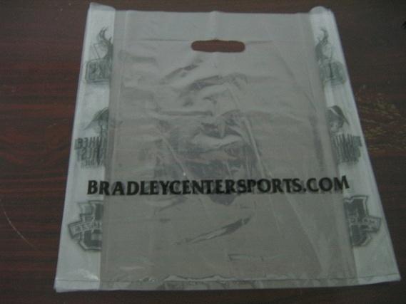LDPE Transparent Printed Plastic Die Cut Handle Shopping Bag